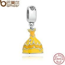 Bamoer originales 925 belle vestido amarillo cuelga el colgante pulsera y collar aptos del cuento clásico pas223