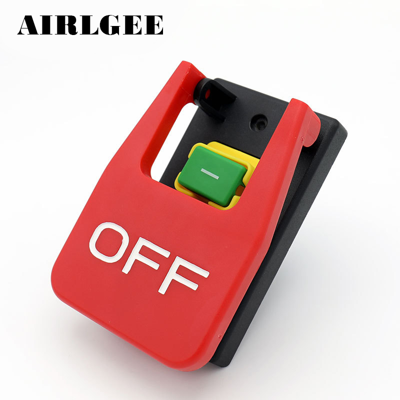 все цены на OFF-ON Red Cover Emergency Stop Push Button Switch 16A 250VAC Power-off/Undervoltage Protection Electromagnetic start Switch