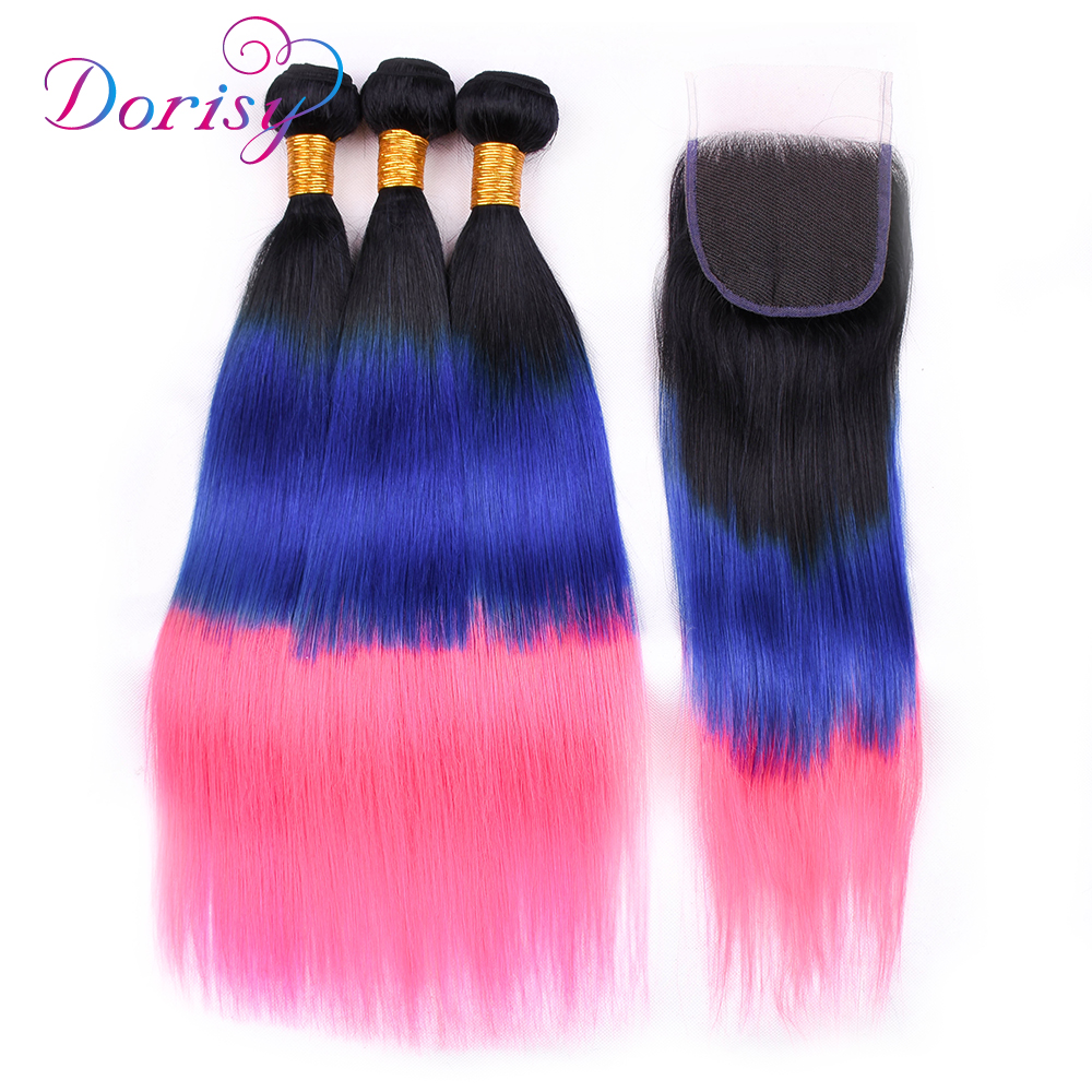 Brazilian Straight Hair Weave 3 Bundles With Closure Remy Hair Weave Human Hair Bundles With Closure 3T Ombre 1B/Blue/Pink Color