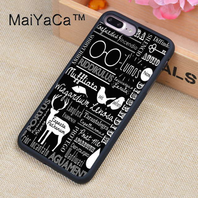 pretty nice 85686 d1d9d US $4.27 5% OFF|MaiYaCa Harry Potter Doodle Printed Phone Case For iPhone  7Plus Soft TPU PC Back Cover For Apple iPhone 7 Plus Shell-in Fitted Cases  ...