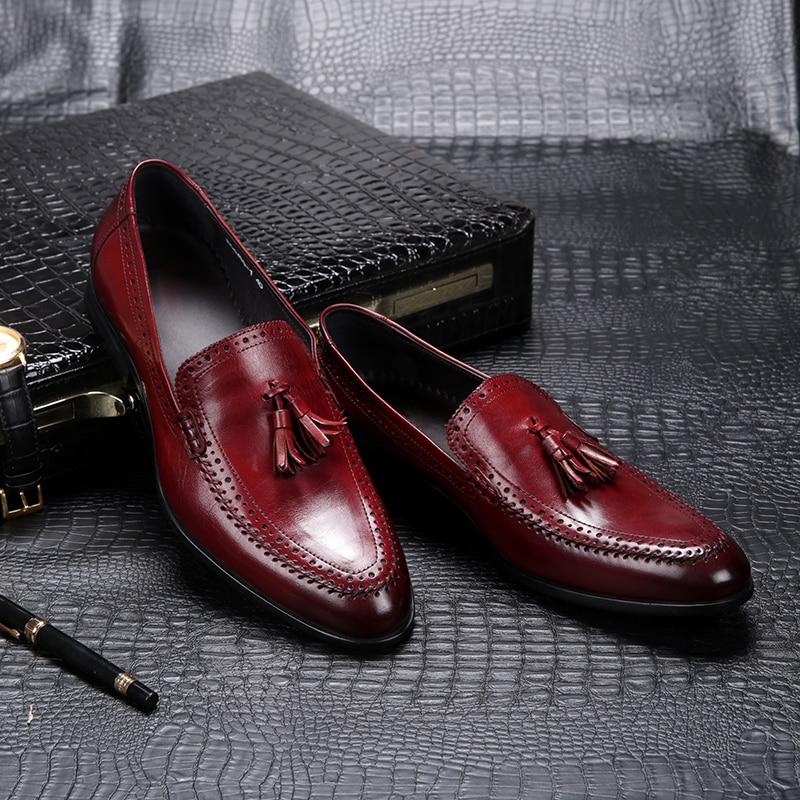 Heren laranja Negócio Vinho Lazer Genuína vermelho Couro Borla Schoenen Dos Homens Pé Confortável Sapatos Cavalheiro Se Black Vestem Heinrich De Nette UZBw5RxqZ