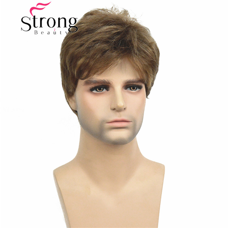StrongBeauty Manly Short Brown Mixed Blonde Fluffy Straight Full Bang Capless Heat Resistant Fiber Wig For Men