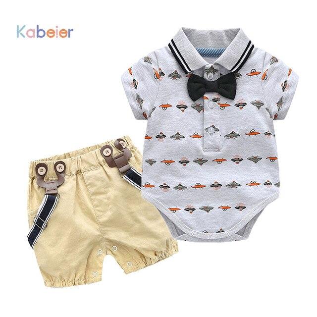 efd757053b11 Toddler Boy Clothing Set Summer Newborn Baby Boys Bow Wedding Romper ...