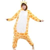Orange Giraffe Pajama Sets Women Men Unisex Adult Animal Pijama Flannel Onesie Cos Sleepwear Hoodie Halloween