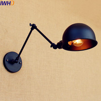 IWHD Black Retro Vintage Wall Lights For Home With Switch Long Arm Wall Lamp Industrial Wall Sconce Edison Style Lighting