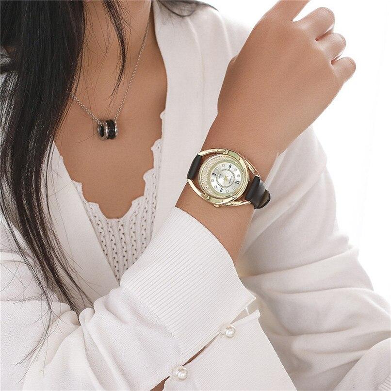 PU Leather Analog Rhinestone Ladies Casual Watch