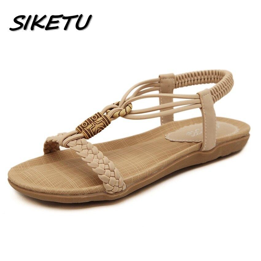 SIKETU Summer new women's flat sandals shoes woman Bohemia beach sandals fashion ethnic retro girls weave sandals size 35-42