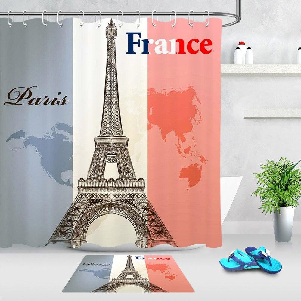 Frankrijk Parijs Toren De Tricolor Vlag Wit Blauw Douchegordijn Badkamer Mat Waterdicht Polyester Stof Voor Bad Home Decor Geselecteerd Materiaal