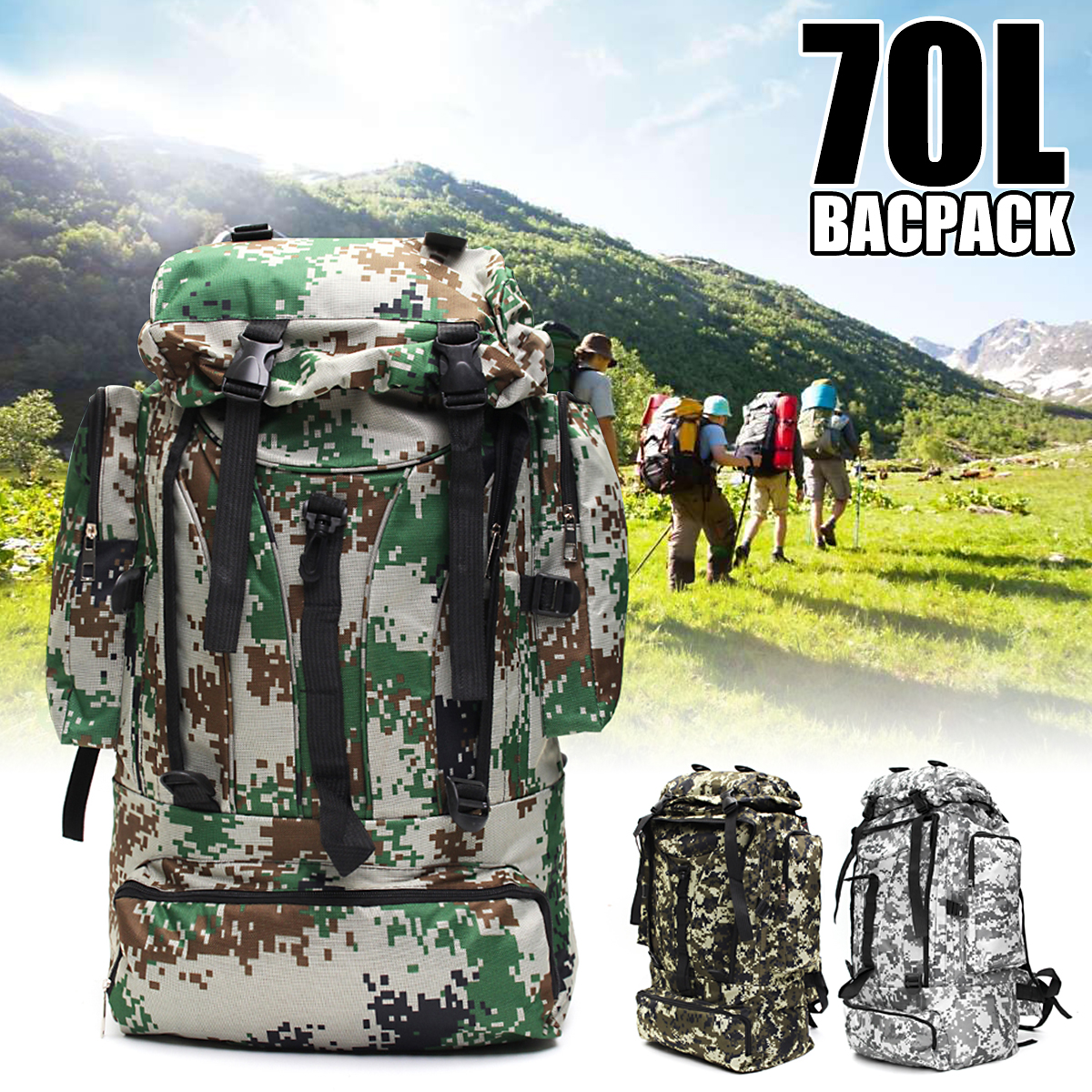 70L Large Capacity Outdoor Sport Military Tactical Climbing Mountaineering Backpack Camping Hiking Trekking Rucksack Travel Bag sinairsoft outdoor military tactical backpack trekking sport travel 25l nylon camping hiking trekking camouflage bag ly0062