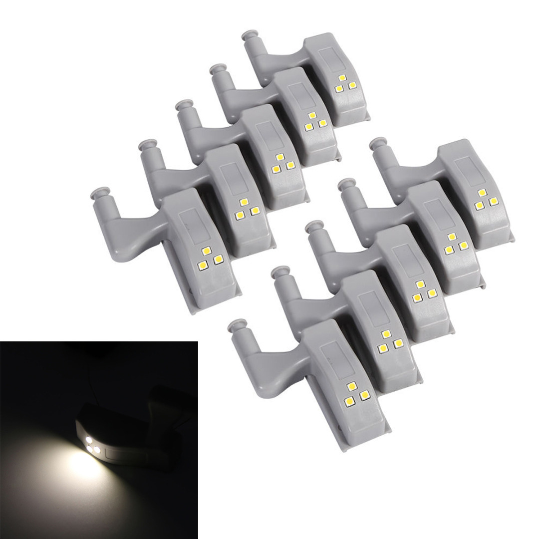 10pcs Universal Cabinet Hinge LED Light Cupboard Closet Wardrobe Smart Sensor LED Hinge Lights Warm White MAYITR 10pcs gold mini butterfly door hinges cabinet drawer jewellery box hinge furniture hinge s diy hardware tools mayitr