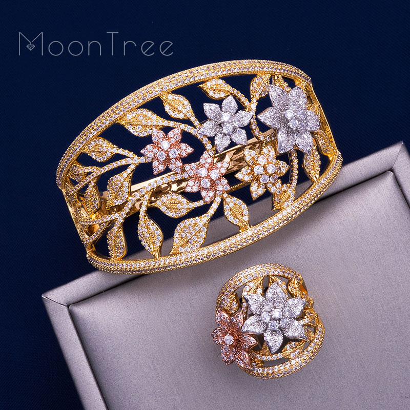 MoonTree Fashion Luxury Super Shiny Stereo Flowers Three Color Copper Zircons Jewelry Sets Women Width Bracelet Bangle And Ring MoonTree Fashion Luxury Super Shiny Stereo Flowers Three Color Copper Zircons Jewelry Sets Women Width Bracelet Bangle And Ring
