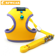 RFWCAK 1 Set Pet Cat Dog Harness Safety Walking Kitty PU Collar Leash Traction Elegant Sweet Style Cute Jacket Products