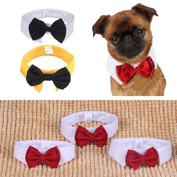 2018 Cute Pet Dog Cotton White Tie and Red Bow Dog Puppy  Bow Tie Necktie For Pet Dog Wedding Party Accessories