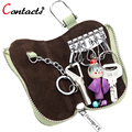 CONTACT'S Genuine Leather Key Case Women Fashion Mini Solid Zipper Key Wallet for Ladies Multifunction Key Holders Dollar Price