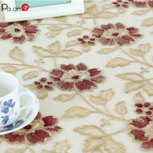 Vintage Lace Tablecloth Embroidered Translucent Gauze Wedding Decor Glass Table Cover Manteles Cloth Christmas