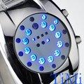 Novo luxo Auto data Mens relógio led azul NR design de moda