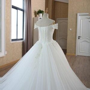Image 5 - Белое Бальное платье невесты, винтажное свадебное платье мусульманского размера плюс с кружевом и рукавом для принцессы, 2020