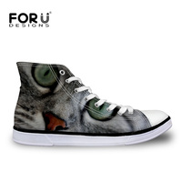 FORUDESIGNS High Top Canvas Vulcanized Shoes for Women Sneakers Autumn Stylish Women's Cute Animal Cat Pattern Ladies Shoes 2018