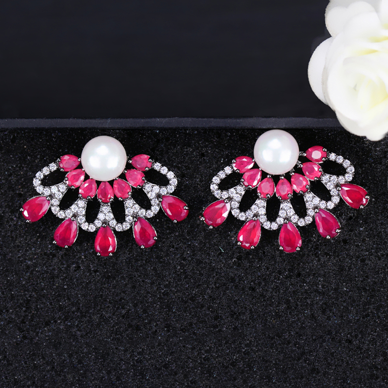 Ruby Red Stud Earrings