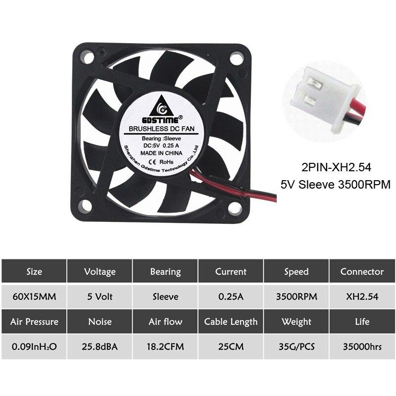 2 шт Gdstime 60 мм 6015 5 в 12 В 24 В DC Охлаждающий радиатор вентилятор 6015 60x60x15 мм 12 В 2PIN USB PC ноутбук компьютер охлаждающий вентилятор - Цвет лезвия: 5V Sleeve 2PINXH2.54