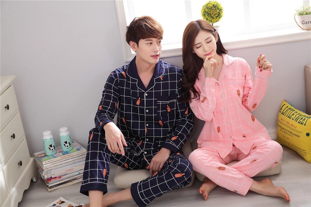 49f7c631e4 Couple pajamas set 100% cotton pajamas plaid pajamas spring and autumn men  and women long sleeve sleepwear lover night suits-in Pajama Sets from  Underwear ...