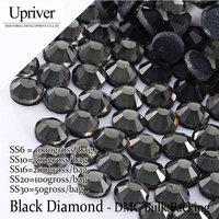 Bulk Packing Dress Accessories Grey Glue High Quality SS6 SS10 SS16 SS20 SS30 Black Diamond Hotfix Rhinestones