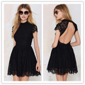 New Arrival 2015 Summer Women Fashion Black O-neck Short Sleeve Sexy Backless Lace Short Dress Ladies Slim Party Club Mini Dress