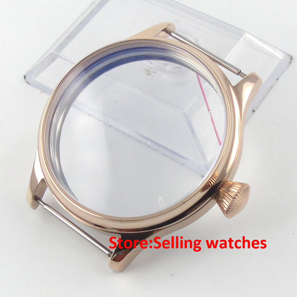 44mm 316L steel screw back rose golden plated CASE fit 6498 6497 movement 44mm watch 316l stainless steel rose golden plated case fit 6498 6497 movement12
