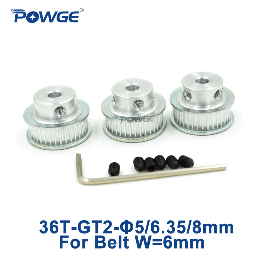 POWGE 3pcs 36 teeth 2GT 2M Timing Pulley Bore 5mm 6.35mm 8mm for width 6mm 2MGT <font><b>GT2</b></font> open Timing belt Small backlash 36teeth <font><b>36T</b></font> image
