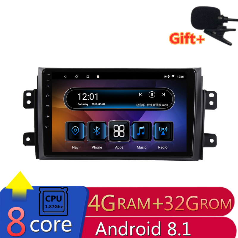 "9"" 4G RAM 2.5D IPS 8 CORE Android 8.1 Car DVD Multimedia Player GPS for Suzuki SX4 2006-2012 2013 2015 audio radio  navigation"