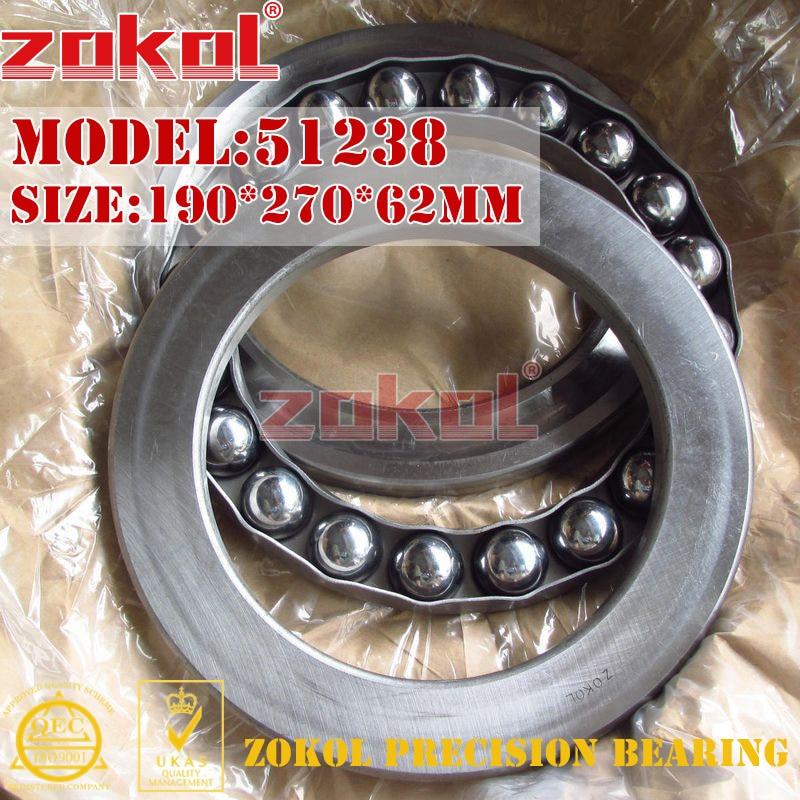 ZOKOL bearing 51238 Thrust Ball Bearing 8238 190*270*62mm 51238 thrust bearing 190 270 62 mm 1 pc abec 1 axial 51238 ball bearings 8238