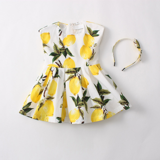 Parent-child dress girl's summer lemon printed dress mother daughter 100% cotton dress