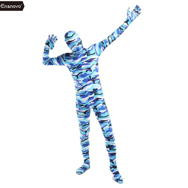 6e9ef5dcc9f Ensnovo Adult Lycra Nylon Zentai Camouflage Skin Tights Full Body Suits  Stretch Commando Bodysuit Halloween Costumes For Men