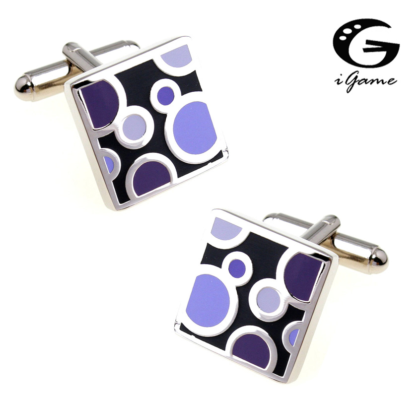 IGame Factory Supply Cuff Buttons Purple Color Enamel Water Drop Design Quality Brass Material Free Shipping