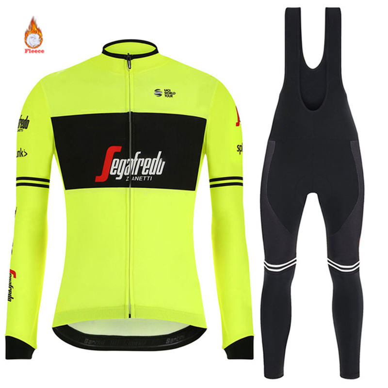 TREKKING SEGAFREDO 2019 Winter Thermal Fleece Warm Cycling Jersey Set Thermal Cycling Clothing Mtb Riding Apparel Ropa Ciclismo