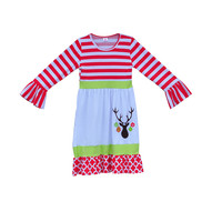 New Arrival Newborn Baby Clothes Winter Toddler Girls Cotton Dresses Ruffle Sleeves Deer Pattern Christmas Children Frocks C023