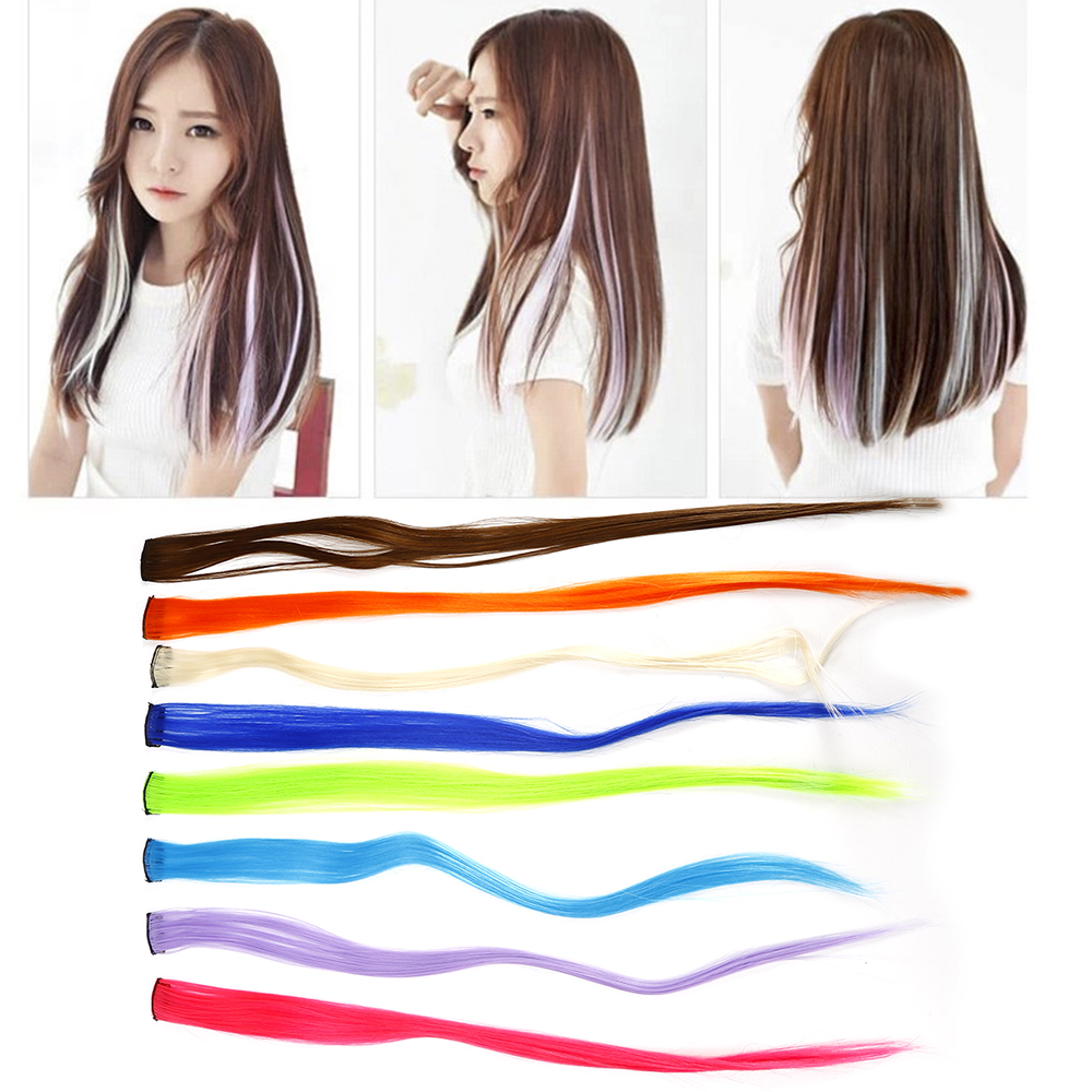 1PCS 1 Clip In 100 human hair Extensions Ombre 10 Colors 55CM Long Straight Clip On