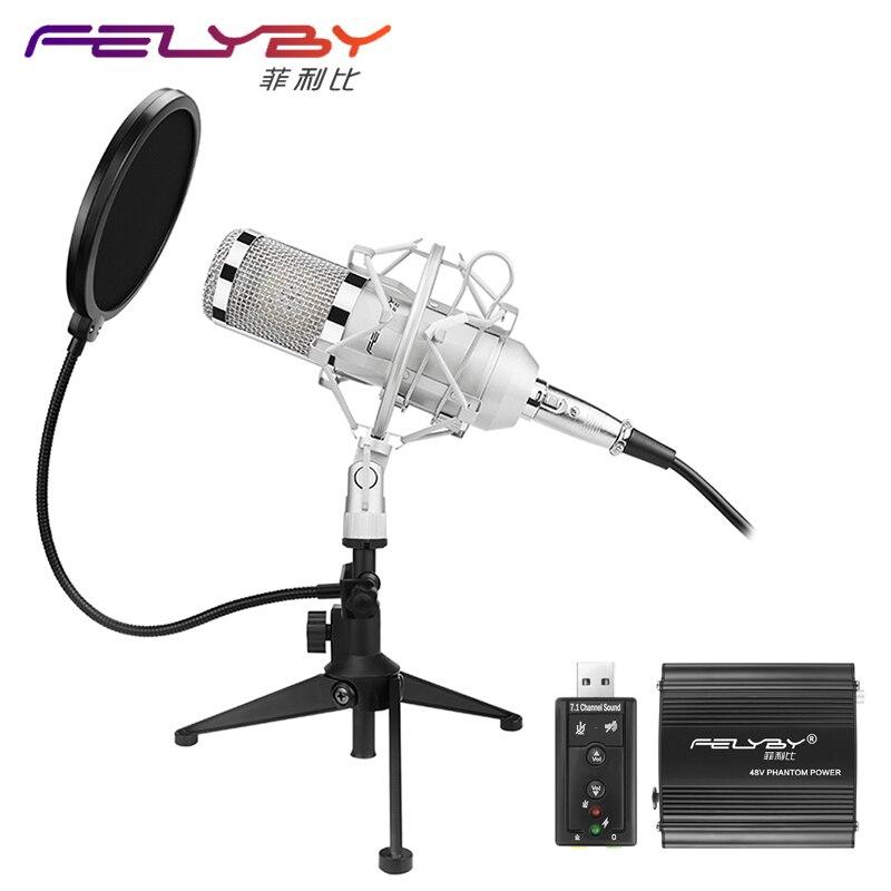 FELYBY Professional BM 800 Condenser microphone Pro audio studio vocal recording Karaoke Desktop mic 48V phantom power Filter