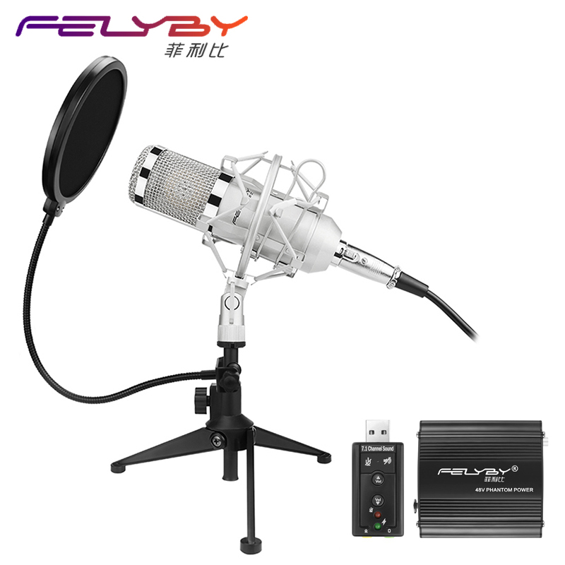 FELYBY Professional BM 800 Condenser microphone Pro audio studio vocal recording Karaoke Desktop mic 48V phantom power Filter 3 5mm jack audio condenser microphone mic studio sound recording wired microfone with stand for radio braodcasting singing