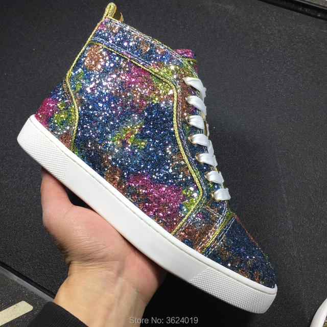 526ff7eb0f1c clandgz Blue color with Glitter high heel shoes Top quality Red bottom  Sneakers Leather Loafers 2018 Male Footwear Spring Autumn