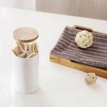 Бытовой хлопок банка для ватных дисков портативный пресс-Тип Резиновая деревянная крышка хлопок банка для ватных дисков зубочистка отделка коробки