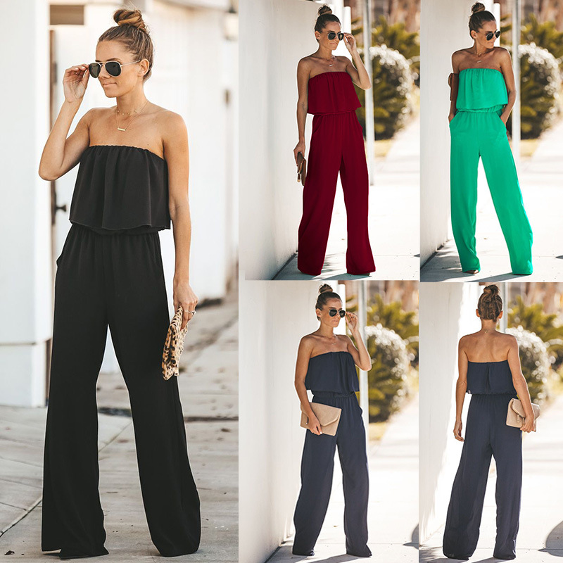 2019 New Arrival Body <font><b>Combinaison</b></font> <font><b>Short</b></font> <font><b>Femme</b></font> Catsuit Europe And America Spring Autumn <font><b>Sexy</b></font> Halter Ruffled Wide Legs Jumpsuit image
