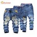 Babyinstar Crianças Meninos Calças Jeans 2017 Dos Desenhos Animados Padrão asa Casual Primavera Outono Jeans para Crianças Calças de Brim da Menina