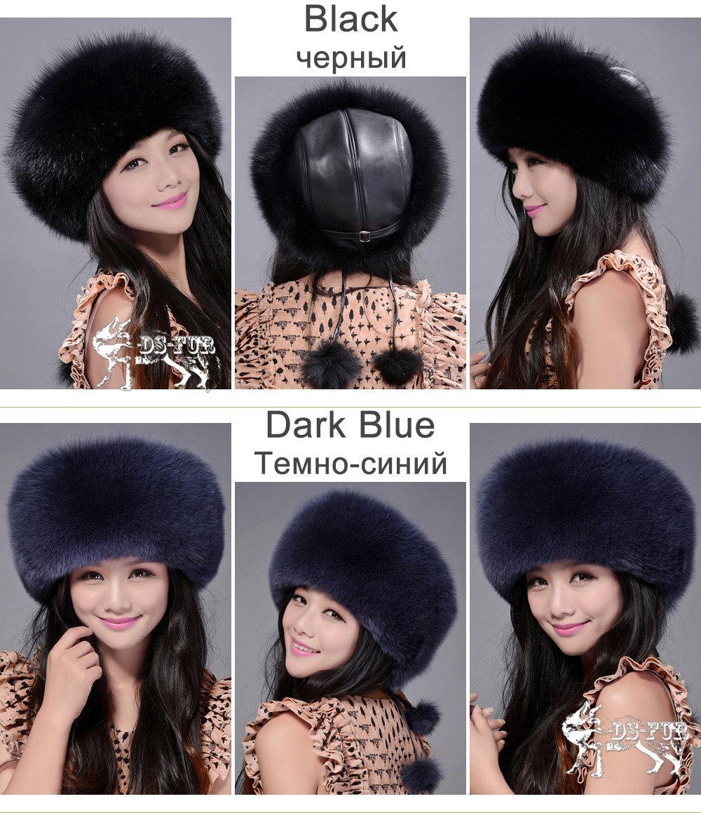 Women leather real fox fur hats04