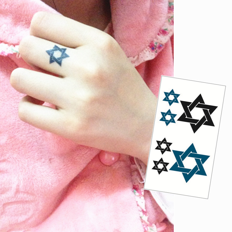 c59546cfb Star of David Flash Tattoo Hand Sticker 10.5*6cm Small Waterproof Henna  Beauty Temporary Body Tattoo Sticker Art FREE SHIPPING