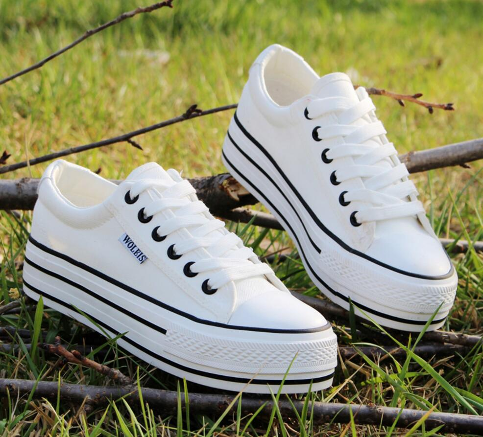 2018Chun xia han version of the low – white canvas shoes female students thick bottom platform shoes, shoes and