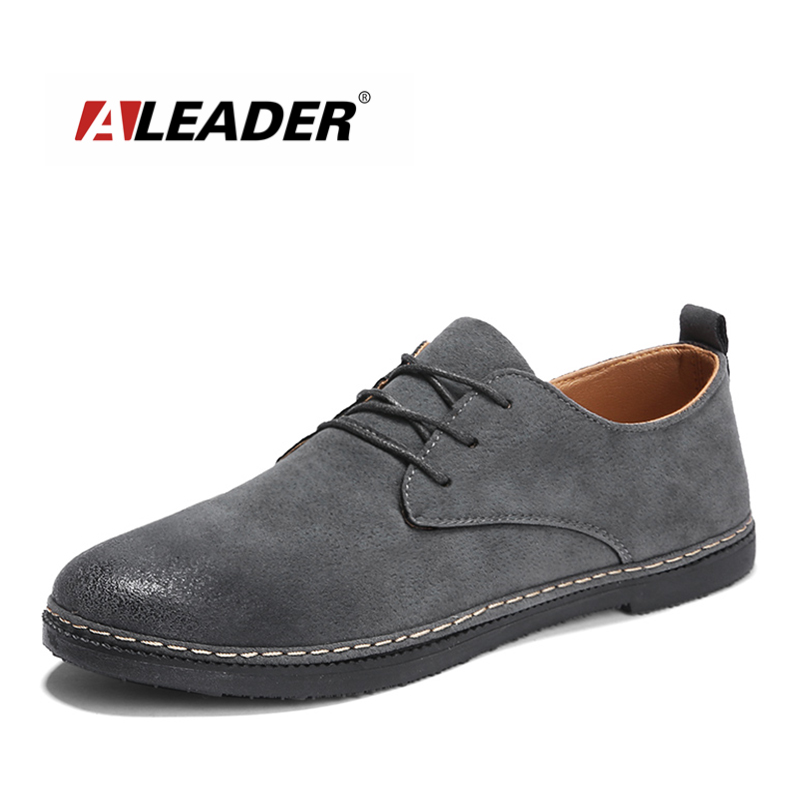 ALEADER No Glue Handmade Spring Mens Shoes Causal Classic Suede Flats Cheap Breathable Walking Lace Up Rubber Shoes Men Moccasin