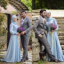 Chiffon Langarm Hijab Muslim Brautkleider brautkleid Handmade Blumen Perlen Blau Brautkleider 2016 YWD53
