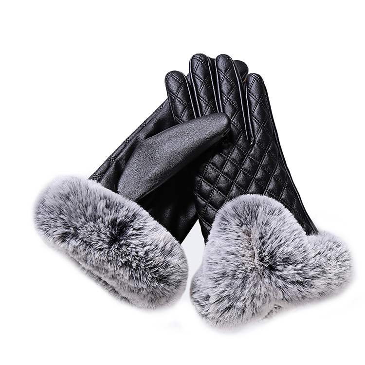 HTB1bE9HayIRMeJjy0Fbq6znqXXa2 - KUYOMENS Fashion Women Warm Thick Winter Gloves Leather Elegant Girls Brand Mittens Free Size With Rabbit Fur Female Gloves