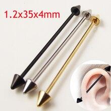 SaYao 2 parça 16G Cerrahi Paslanmaz Çelik 1.2*35*4mm Başak Ok Endüstriyel Halter Piercing Helix kulak göbek takısı